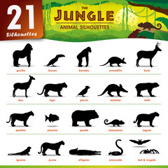 21 Jungle animal silhouettes