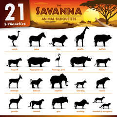 21 savanna animal silhouettes