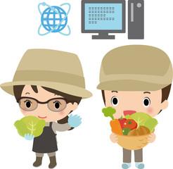 現代的な農業で働く若者