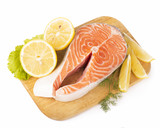 Salmon. Fresh Raw Salmon Red Fish Steak isolated on a White