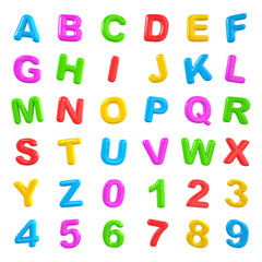English multi coloured alphabet and number