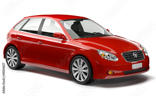 Red Hatchback Car
