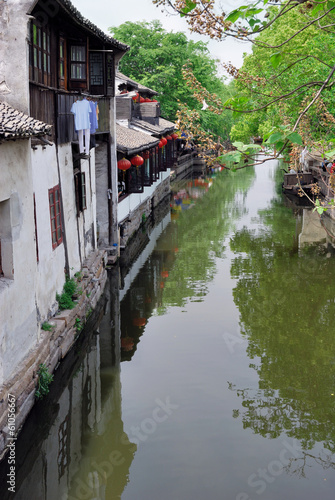 Zhouzhuang,Shanghai, old houses reflection in a village canal.