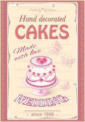 banner with wedding  cake on the vintage