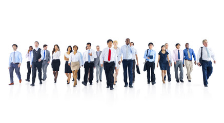 Large Group of Business People Walking