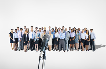 Group of Business People with Microphone