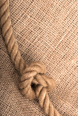 ship ropes on a sacking, a linen fabric background texture close