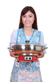 housewife with suki pot