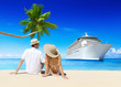 Lovely Couple on a Beach with Cruise Ship