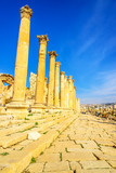 Cardo maximus in the ancient Jordanian city of Gerasa, Jerash