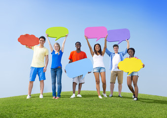 Youth with Speech Bubbles