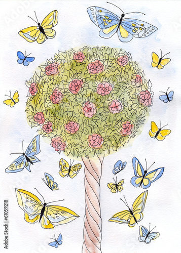 Roses and butterflies. Flowering tree roses watercolor.