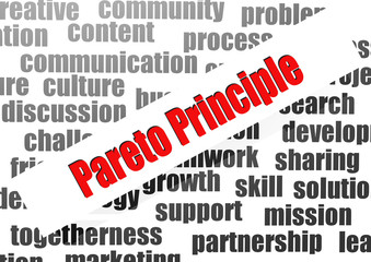Pareto principle word cloud