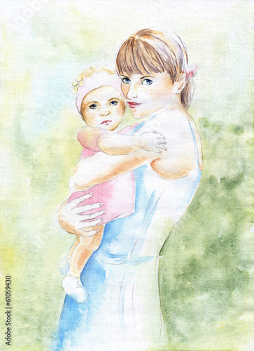 A young mother with a baby in her arms. Watercolor illustration