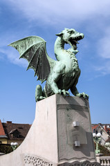 Dragon Bridge in the city of Ljubljana, Slovenia.