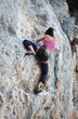 Rear view of young female rock climber on cliff
