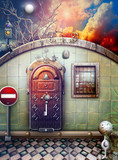 Gothic wall and mysterious door in the sunset poster