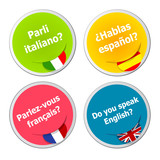 set of language stickers