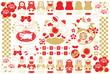 2015年未年年賀状用イラストカット素材集(子羊マトリョーシカ人形キャラクター謹賀新年)おめでたい配色赤茶