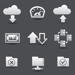 Sharing computer and data store icons,vector