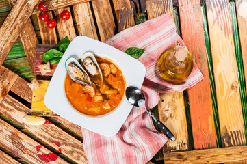 Spanish tomato soup with seafood