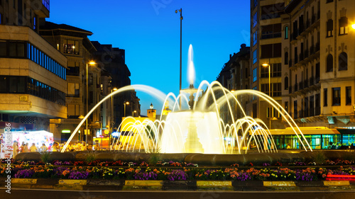 fountain in night. Pamplona