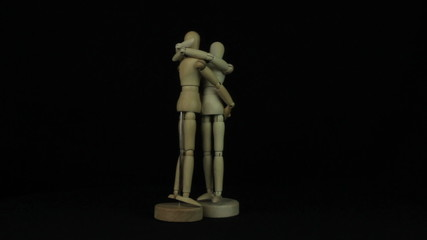 Wooden model of human hug loop