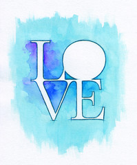 Word LOVE over abstract watercolor painting