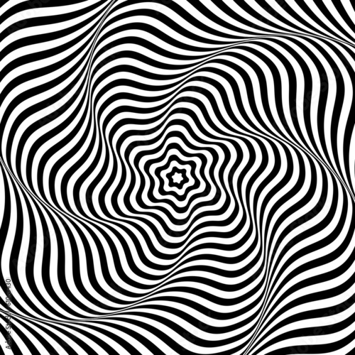 Illusion of wavy rotation movement. Abstract op art background.