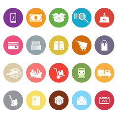 Shipment flat icons on white background