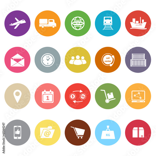 Logistic flat icons on white background