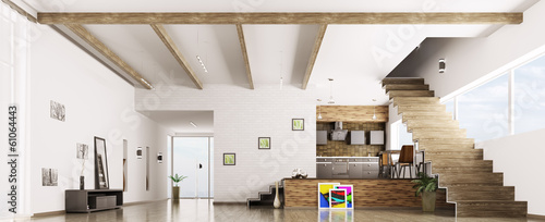 Interior of modern apartment panorama
