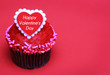 Chocolate cupcake with Valentines heart on the top