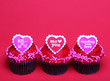 Chocolate cupcakes with Valentine hearts