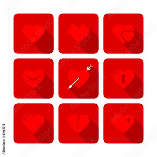 9 Hearts Flat Icons