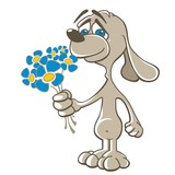 Dog - Doggy in love holding blue flowers - Valentine´s day