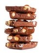 stack of pieces of chocolate with nuts