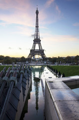 Eiffel tower at dawn with reflection. Paris. France.