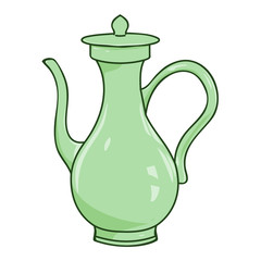 tea kettle isolated illustration