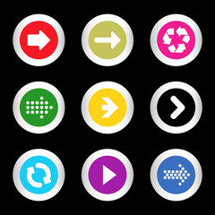 Arrow sign icon set in circle shape internet button