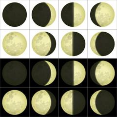 Moon phases, set