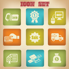 Shopping,vintage icons,vector