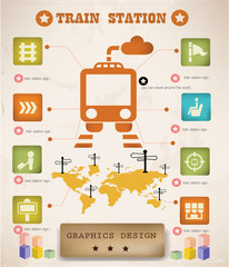 Train graphics design,vintage style,vector