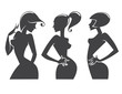 vector collection of attractive girl silhouettes
