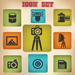Camera icon set,vintage style,vector