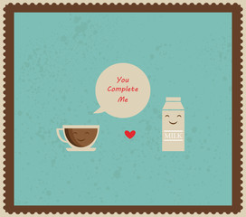 retro valentines card with coffee and milk