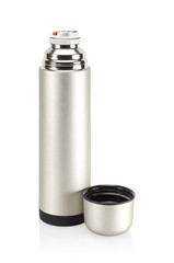 Grained pattern steel thermos.