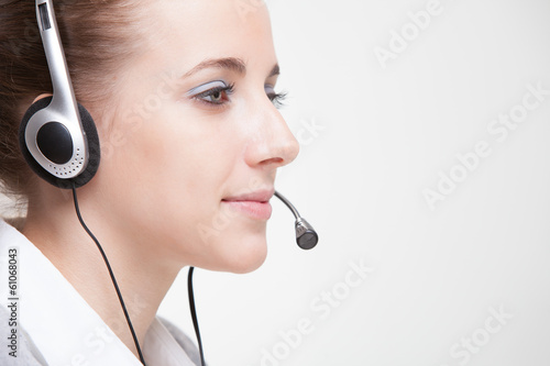 Cute business customer service woman smiling