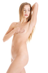 Beautiful naked woman with her arm up, showing armpit.
