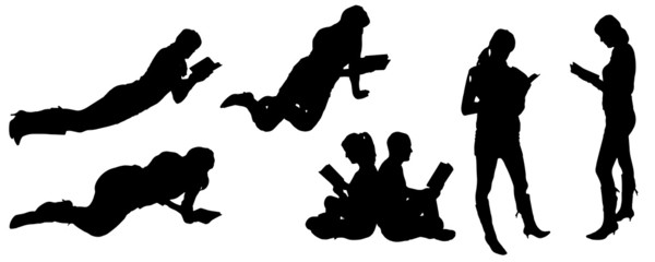 vector silhouette of people reading